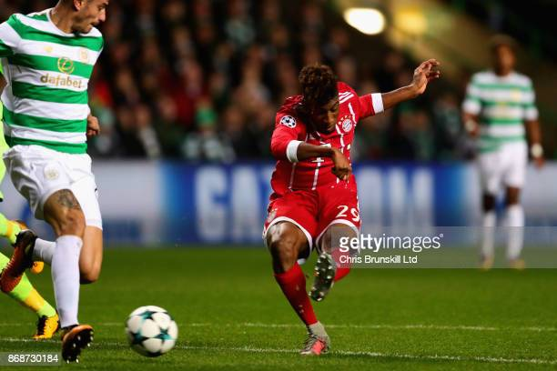 Kingsley Coman of Bayern Muenchen scores the opening goal during the UEFA Champions League group B match between Celtic FC and Bayern Muenchen at...