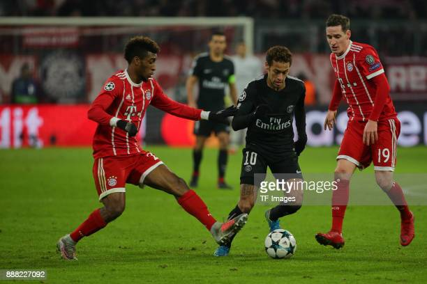 Kingsley Coman of Bayern Muenchen Sebastian Rudy of Bayern Muenchen and Neymar of Paris SaintGermain battle for the ball during the UEFA Champions...