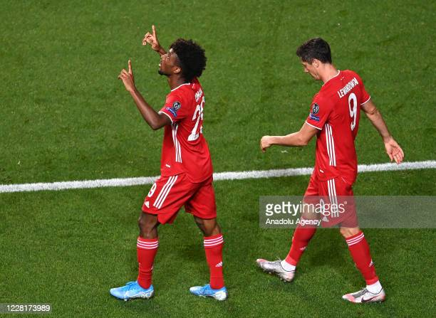 Kingsley Coman of Bayern Munich celebrates a goal during the UEFA Champions League final football match between Paris Saint-Germain and Bayern Munich...