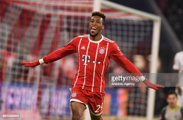 Kingsley Coman of Bayern Munich celebrates after scoring a goal during the Bundesliga soccer match between FC Bayern Munich and Hannover 96 at the...