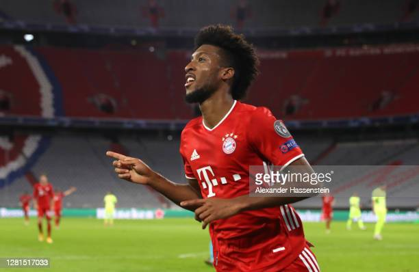 Kingsley Coman of Bayern Munich celebrates after scoring his team's fourth goal during the UEFA Champions League Group A stage match between FC...