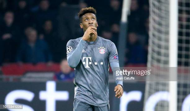 Kingsley Coman of Bayern Munich celebrates his goal during the UEFA Champions League Group E match between Ajax and FC Bayern Munich at Johan Cruyff...