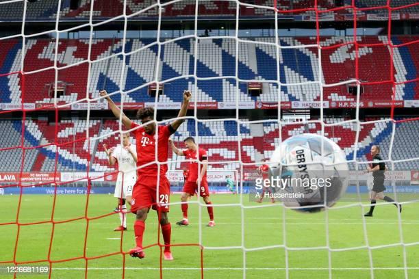 Kingsley Coman of Bayern Munich celebrates the fourth goal during the Bundesliga match between FC Bayern Muenchen and Eintracht Frankfurt at Allianz...