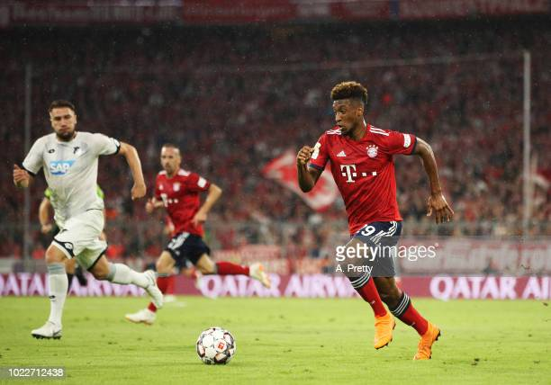 Kingsley Coman of Bayern Munich during the Bundesliga match between FC Bayern Muenchen and TSG 1899 Hoffenheim at Allianz Arena on August 24 2018 in...