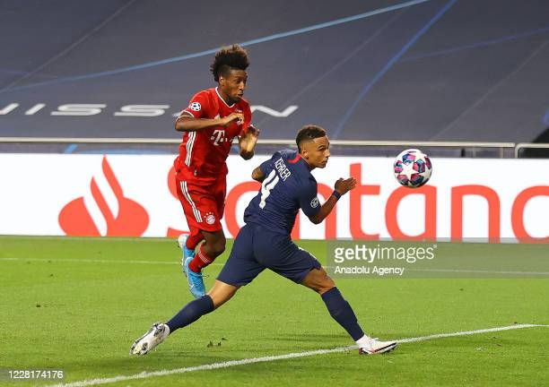 Kingsley Coman of Bayern Munich in action against Thilo Kehrer of PSG during the UEFA Champions League final football match between Paris...