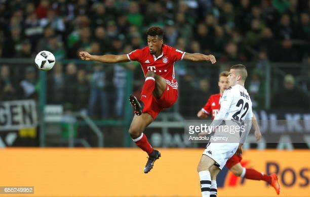 Kingsley Coman of Bayern Munich in action during the Bundesliga Match between Borussia Moenchengladbach and Bayern Munich at BorussiaPark on March 19...