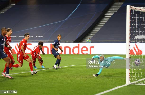 Kingsley Coman of Bayern Munich scores a goal during the UEFA Champions League final football match between Paris Saint-Germain and Bayern Munich at...