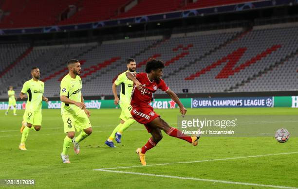 Kingsley Coman of Bayern Munich scores his team's fourth goal during the UEFA Champions League Group A stage match between FC Bayern Muenchen and...