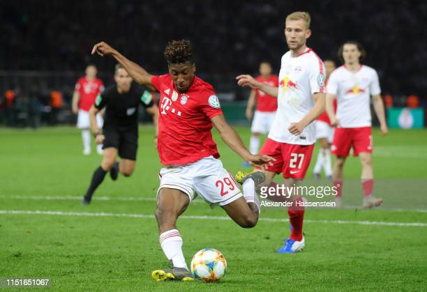 Kingsley Coman of Bayern Munich scores his team's second goal during the DFB Cup final between RB Leipzig and Bayern Muenchen at Olympiastadion on...