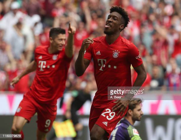 Kingsley Coman of FC Bayern celebrates his first goal during the Bundesliga match between FC Bayern Muenchen and Eintracht Frankfurt at Allianz Arena...