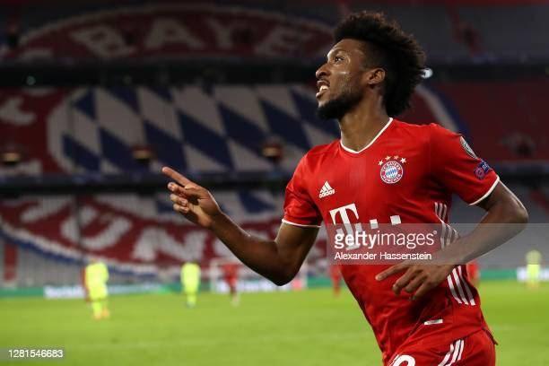 Kingsley Coman of FC Bayern München celebrates scoring the 4th team goal during the UEFA Champions League Group A stage match between FC Bayern...