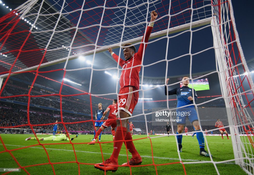 Kingsley Coman of FC Bayern Muenchen celebrates after Sandro Wagner of FC Bayern Muenchen scored his team's fifth goal during the Bundesliga match between FC Bayern Muenchen and TSG 1899 Hoffenheim at Allianz Arena on January 27, 2018 in Munich, Germany.