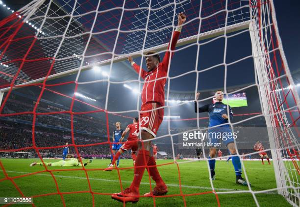 Kingsley Coman of FC Bayern Muenchen celebrates after Sandro Wagner of FC Bayern Muenchen scored his team's fifth goal during the Bundesliga match...