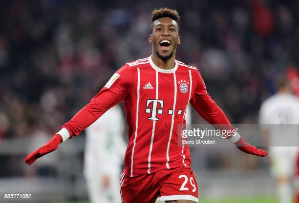 Kingsley Coman of FC Bayern Muenchen celebrates after scoring his team's second goal during the Bundesliga match between FC Bayern Muenchen and...