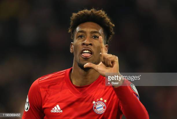 Kingsley Coman of FC Bayern Muenchen celebrates his first goal during the UEFA Champions League group B match between Bayern Muenchen and Tottenham...