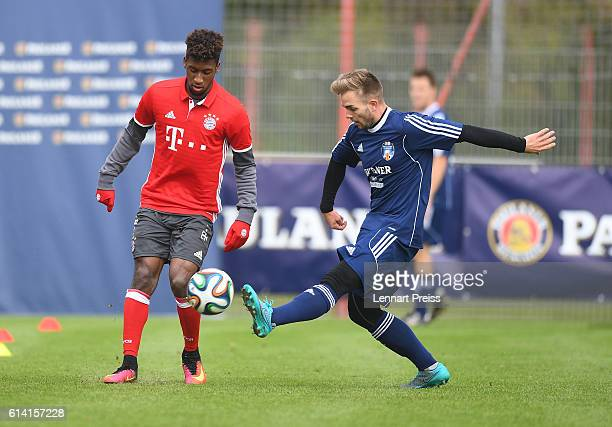 Kingsley Coman of FC Bayern Muenchen challenges Alexander Freitag of the Paulaner Soccer Team during the Paulaner Fan Dream Bavarian Battle Qualifier...