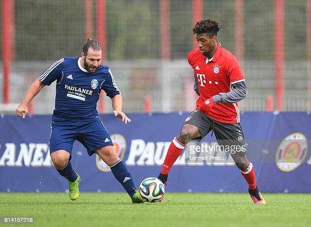 Kingsley Coman of FC Bayern Muenchen challenges Michael Oberli of the Paulaner Soccer Team during the Paulaner Fan Dream Bavarian Battle Qualifier on...