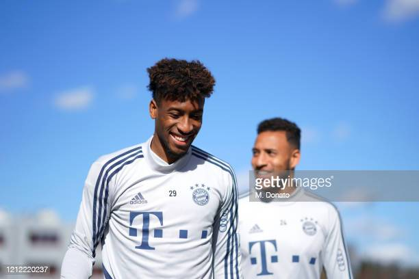 Kingsley Coman of FC Bayern Muenchen during a training session at Saebener Strasse training ground on March 13 2020 in Munich Germany