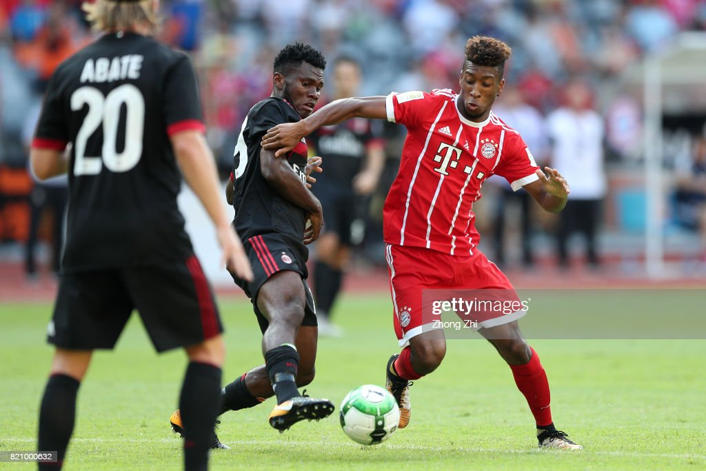 #29 Kingsley Coman of FC Bayern Muenchen in action against #79 Franck Kessi of AC Milan during the 2017 International Champions Cup football match between AC Milan and FC Bayern Muenchen on July 22, 2017 in Shenzhen, China.