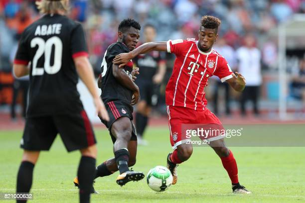 Kingsley Coman of FC Bayern Muenchen in action against Franck Kessi of AC Milan during the 2017 International Champions Cup football match between AC...