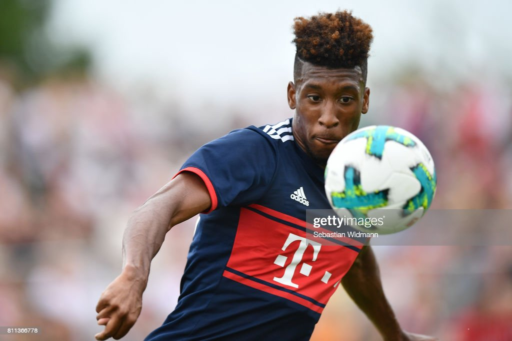 Kingsley Coman of FC Bayern Muenchen plays the ball during the preseason friendly match between FSV Erlangen-Bruck and Bayern Muenchen at Adi Dassler Sportplatz on July 9, 2017 in Herzogenaurach, Germany.