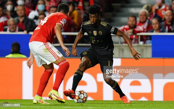 Kingsley Coman of FC Bayern Munchen with Lucas Verissimo of SL Benfica in action during the Group E - UEFA Champions League match between SL Benfica...