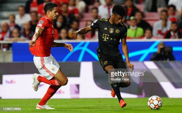 Kingsley Coman of FC Bayern Munchen with Lucas Veríssimo of SL Benfica in action during the Group E - UEFA Champions League match between SL Benfica...