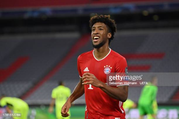 Kingsley Coman of FC Bayern Munich celebrates after scoring his sides fourth goal during the UEFA Champions League Group A stage match between FC...