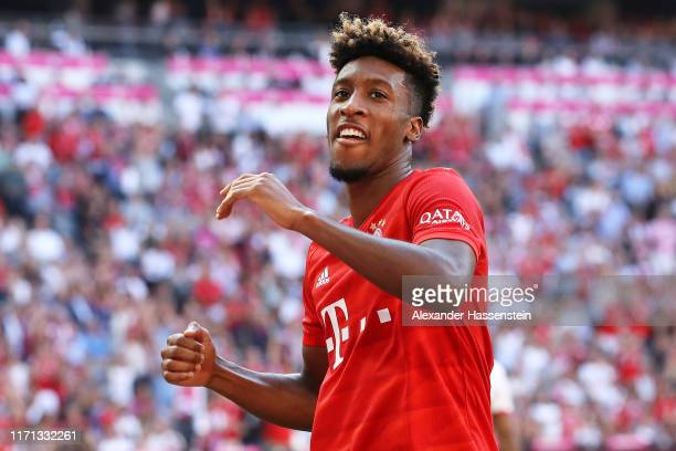 Kingsley Coman of FC Bayern Munich celebrates after scoring his team's fourth goal during the Bundesliga match between FC Bayern Muenchen and 1. FSV...