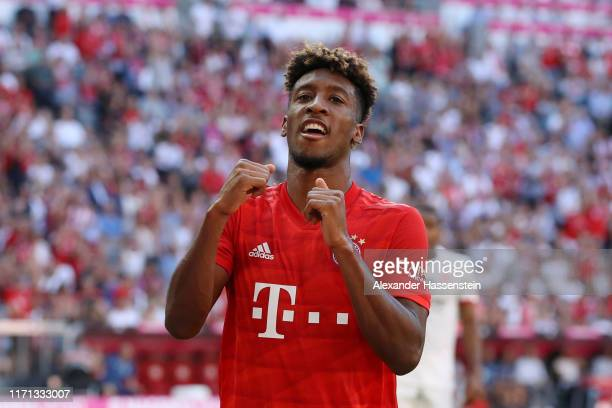 Kingsley Coman of FC Bayern Munich celebrates after scoring his team's fourth goal during the Bundesliga match between FC Bayern Muenchen and 1 FSV...
