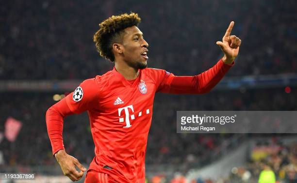 Kingsley Coman of FC Bayern Munich celebrates after scoring his team's first goal during the UEFA Champions League group B match between Bayern...
