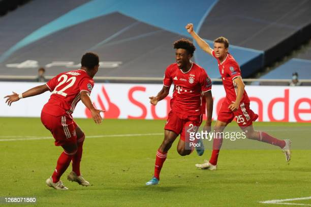 Kingsley Coman of FC Bayern Munich celebrates after scoring his team's first goal during the UEFA Champions League Final match between Paris...