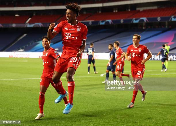 Kingsley Coman of FC Bayern Munich celebrates scoring his team's first goal during the UEFA Champions League Final match between Paris Saint-Germain...