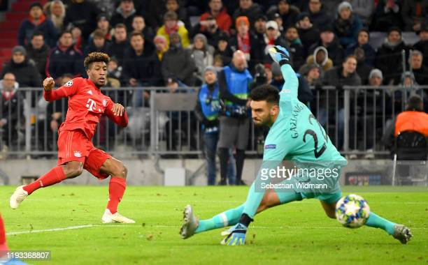 Kingsley Coman of FC Bayern Munich scores his team's first goal during the UEFA Champions League group B match between Bayern Muenchen and Tottenham...