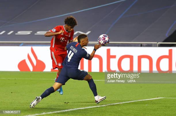 Kingsley Coman of FC Bayern Munich scores his team's first goal during the UEFA Champions League Final match between Paris Saint-Germain and Bayern...
