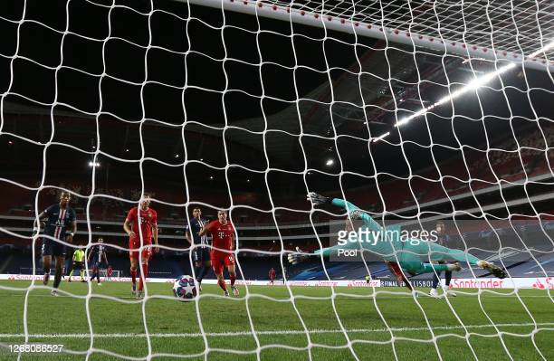 Kingsley Coman of FC Bayern Munich scores his team's first goal past goalkeeper Keylor Navas during the UEFA Champions League Final match between...