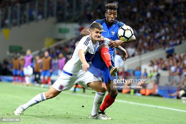 Kingsley Coman of France and Laurent Jans of Luxembourg in action during the FIFA 2018 World Cup Qualifier between France and Luxembourg at on...