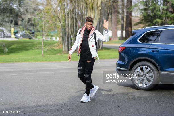 Kingsley Coman of France arrives at on March 18 2019 in ClairefontaineenYvelines France