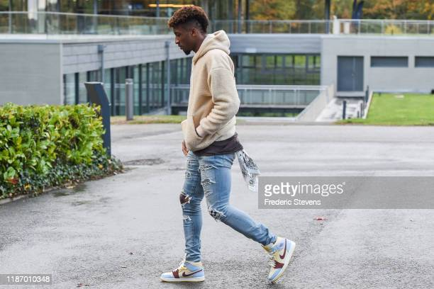 Kingsley Coman of France arrives at the National Football Centre as part of the preparation to UEFA Euro 2020 on November 11 2019 in Clairefontaine...