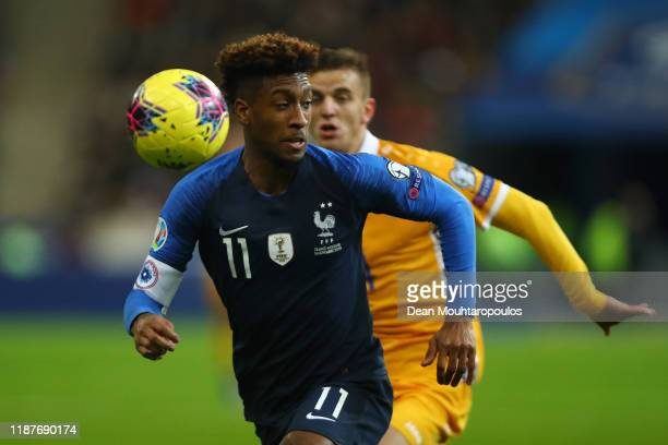 Kingsley Coman of France chases down the ball during the UEFA Euro 2020 Qualifier between France and Moldova on November 14 2019 in Paris France
