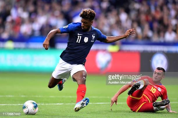 Kingsley Coman of France scores during UEFA Euro 2020 qualifier match between France and Andorra at Stade de France on September 10 2019 in Paris...