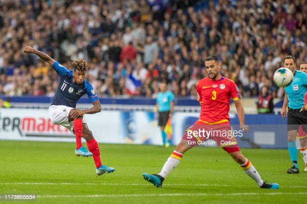 September 10: Kingsley Coman of France shoots as Marc Vales of Andorra attempts to block the shot during the France V Andorra, UEFA European...