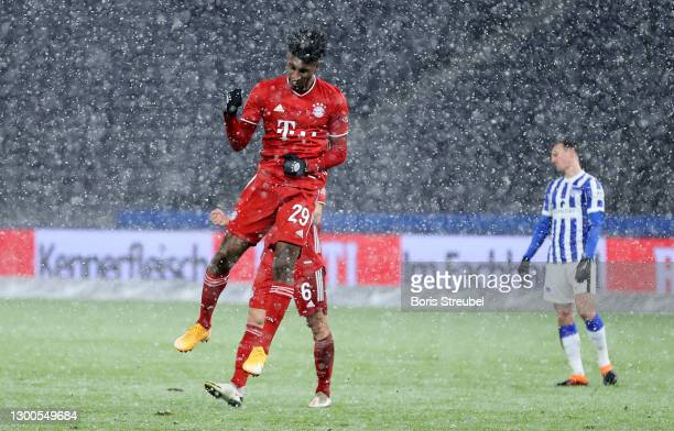 Kingsley Coman of Muenchen celebrates after scoring his teams first goal during the Bundesliga match between Hertha BSC and FC Bayern Muenchen at...