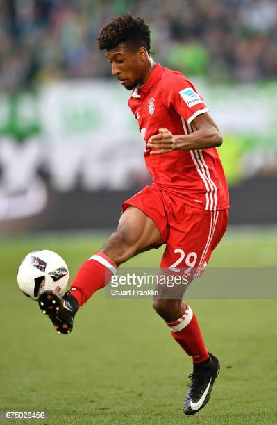 Kingsley Coman of Muenchen in action during the Bundesliga match between VfL Wolfsburg and Bayern Muenchen at Volkswagen Arena on April 29 2017 in...
