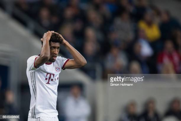 Kingsley Coman of Muenchen reacts during the Bundesliga match between TSG 1899 Hoffenheim and Bayern Muenchen at Wirsol RheinNeckarArena on April 4...