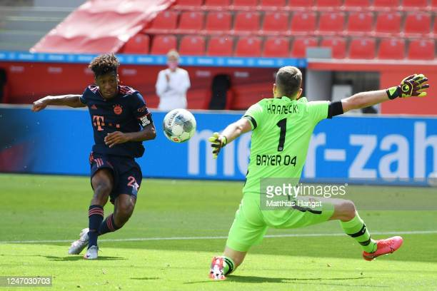 Kingsley Coman of Muenchen scores his team's first goal past goalkeeper Lukas Hradecky of Leverkusen during the Bundesliga match between Bayer 04...
