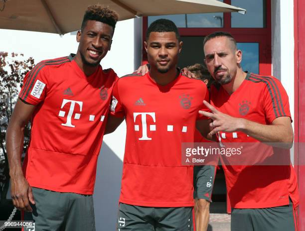 Kingsley Coman Serge Gnabry and Franck Ribery of FC Bayern Muenchen pose before a training session at the club's Saebener Strasse training ground on...