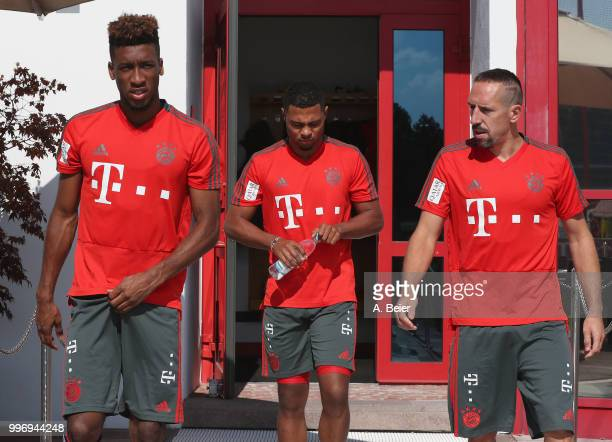 Kingsley Coman Serge Gnabry and Franck Ribery of FC Bayern Muenchen arrive for a training session at the club's Saebener Strasse training ground on...