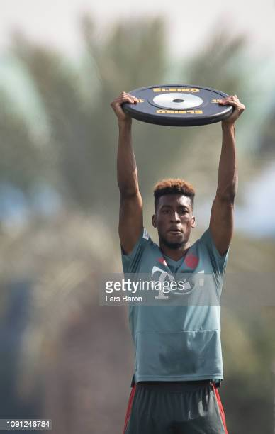 Kingsley Coman trains during during a training session at day four of the Bayern Muenchen training camp at Aspire Academy on January 07 2019 in Doha...