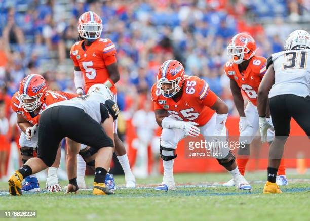 Kingsley Eguakun of the Florida Gators looks on during the fourth quarter of a game against the Towson Tigers at Ben Hill Griffin Stadium on...